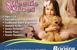 $40 for 4 Classes of Teenie Toes age 3 and up, Teenie Performer or Teenie Flamenco (up to $110.00 value) OR $125 for Mommy and Me winter session - Gaithersburg ($225.00 value)