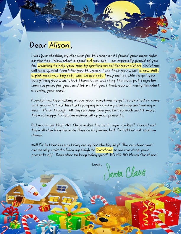 Custom of writing letters to santa claus